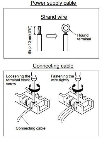 How to connect wiring to the terminals