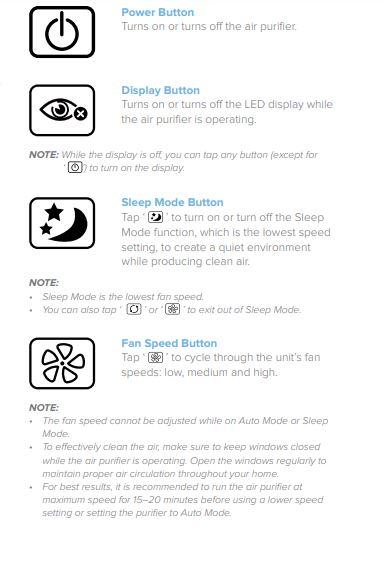 Levoit Air Purifier Button Controls