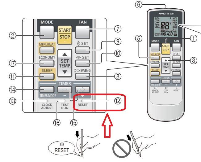 fujitsu air conditioner reset button
