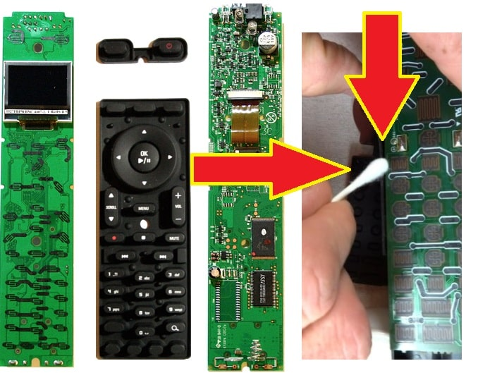 Clean the motherboard and the rubber buttons with water and soap