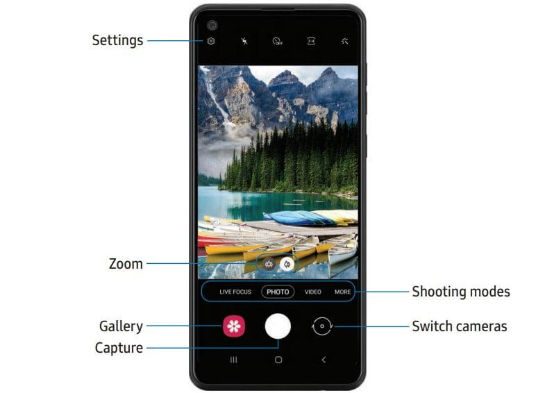 Samsung A21 Camera Settings